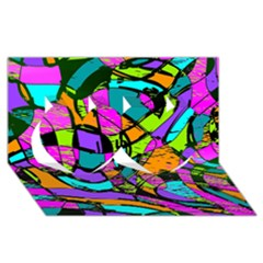Abstract Sketch Art Squiggly Loops Multicolored Twin Hearts 3d Greeting Card (8x4) by EDDArt