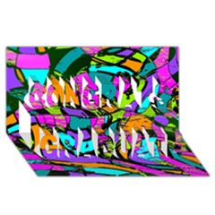 Abstract Sketch Art Squiggly Loops Multicolored Congrats Graduate 3d Greeting Card (8x4) by EDDArt