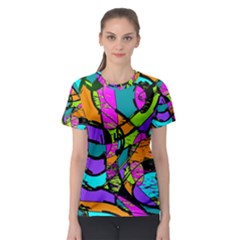 Abstract Sketch Art Squiggly Loops Multicolored Women s Sport Mesh Tee by EDDArt