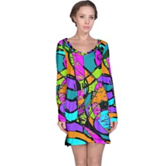 Abstract Sketch Art Squiggly Loops Multicolored Long Sleeve Nightdress by EDDArt