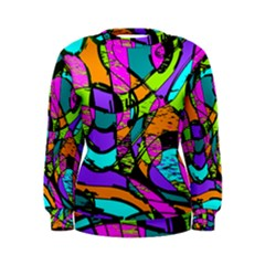 Abstract Sketch Art Squiggly Loops Multicolored Women s Sweatshirt by EDDArt