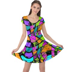 Abstract Sketch Art Squiggly Loops Multicolored Cap Sleeve Dresses by EDDArt