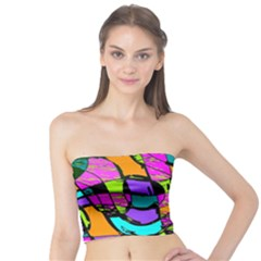 Abstract Sketch Art Squiggly Loops Multicolored Tube Top by EDDArt