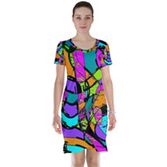 Abstract Sketch Art Squiggly Loops Multicolored Short Sleeve Nightdress by EDDArt