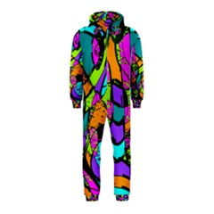 Abstract Sketch Art Squiggly Loops Multicolored Hooded Jumpsuit (kids) by EDDArt