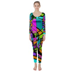 Abstract Sketch Art Squiggly Loops Multicolored Long Sleeve Catsuit by EDDArt