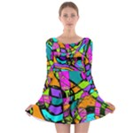 Abstract Sketch Art Squiggly Loops Multicolored Long Sleeve Skater Dress