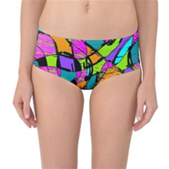 Abstract Sketch Art Squiggly Loops Multicolored Mid Waist Bikini Bottoms by EDDArt
