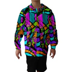 Abstract Sketch Art Squiggly Loops Multicolored Hooded Wind Breaker (kids) by EDDArt