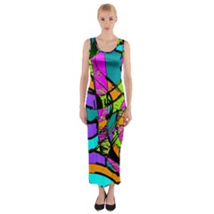 Abstract Sketch Art Squiggly Loops Multicolored Fitted Maxi Dress by EDDArt