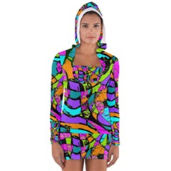 Abstract Sketch Art Squiggly Loops Multicolored Women s Long Sleeve Hooded T Shirt by EDDArt