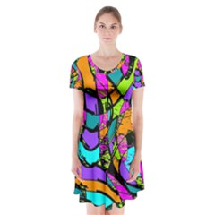 Abstract Sketch Art Squiggly Loops Multicolored Short Sleeve V Neck Flare Dress by EDDArt