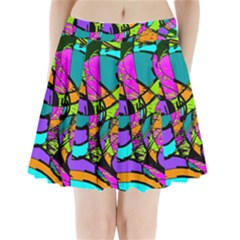 Abstract Sketch Art Squiggly Loops Multicolored Pleated Mini Skirt by EDDArt