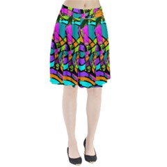 Abstract Sketch Art Squiggly Loops Multicolored Pleated Skirt by EDDArt