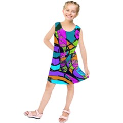 Abstract Sketch Art Squiggly Loops Multicolored Kids  Tunic Dress by EDDArt