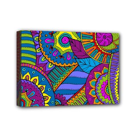 Pop Art Paisley Flowers Ornaments Multicolored Mini Canvas 7  X 5  by EDDArt
