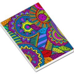 Pop Art Paisley Flowers Ornaments Multicolored Large Memo Pads by EDDArt