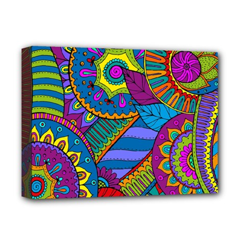 Pop Art Paisley Flowers Ornaments Multicolored Deluxe Canvas 16  X 12   by EDDArt