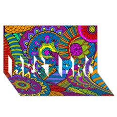 Pop Art Paisley Flowers Ornaments Multicolored Best Bro 3d Greeting Card (8x4) by EDDArt
