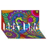 Pop Art Paisley Flowers Ornaments Multicolored BEST BRO 3D Greeting Card (8x4)