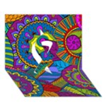 Pop Art Paisley Flowers Ornaments Multicolored Ribbon 3D Greeting Card (7x5)