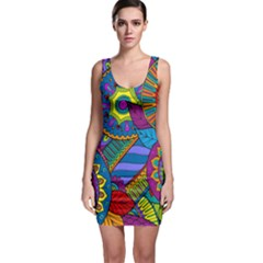 Pop Art Paisley Flowers Ornaments Multicolored Sleeveless Bodycon Dress by EDDArt