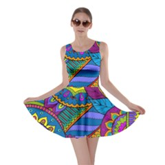 Pop Art Paisley Flowers Ornaments Multicolored Skater Dress by EDDArt