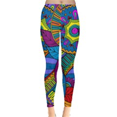 Pop Art Paisley Flowers Ornaments Multicolored Leggings  by EDDArt