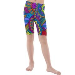 Pop Art Paisley Flowers Ornaments Multicolored Kids  Mid Length Swim Shorts by EDDArt