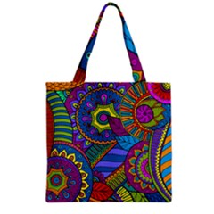Pop Art Paisley Flowers Ornaments Multicolored Grocery Tote Bag by EDDArt