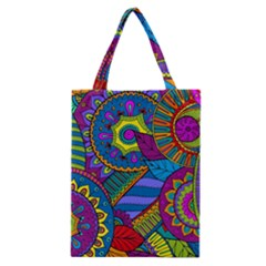 Pop Art Paisley Flowers Ornaments Multicolored Classic Tote Bag by EDDArt
