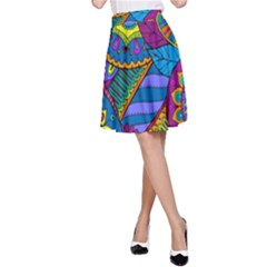 Pop Art Paisley Flowers Ornaments Multicolored A Line Skirt by EDDArt