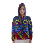 Pop Art Paisley Flowers Ornaments Multicolored Hooded Wind Breaker (Women)