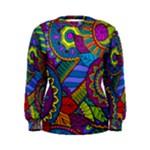 Pop Art Paisley Flowers Ornaments Multicolored Women s Sweatshirt