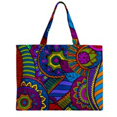 Pop Art Paisley Flowers Ornaments Multicolored Zipper Mini Tote Bag by EDDArt