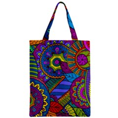 Pop Art Paisley Flowers Ornaments Multicolored Zipper Classic Tote Bag by EDDArt