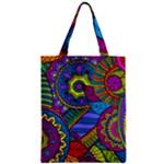 Pop Art Paisley Flowers Ornaments Multicolored Zipper Classic Tote Bag