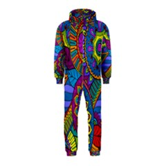 Pop Art Paisley Flowers Ornaments Multicolored Hooded Jumpsuit (kids) by EDDArt