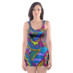 Pop Art Paisley Flowers Ornaments Multicolored Skater Dress Swimsuit by EDDArt