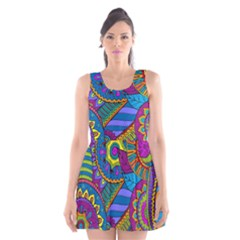 Pop Art Paisley Flowers Ornaments Multicolored Scoop Neck Skater Dress by EDDArt