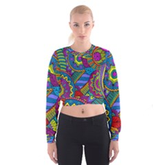 Pop Art Paisley Flowers Ornaments Multicolored Women s Cropped Sweatshirt by EDDArt