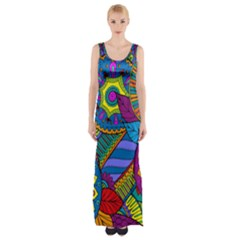 Pop Art Paisley Flowers Ornaments Multicolored Maxi Thigh Split Dress by EDDArt