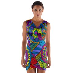 Pop Art Paisley Flowers Ornaments Multicolored Wrap Front Bodycon Dress by EDDArt