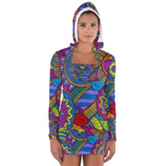 Pop Art Paisley Flowers Ornaments Multicolored Women s Long Sleeve Hooded T Shirt by EDDArt