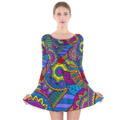 Pop Art Paisley Flowers Ornaments Multicolored Long Sleeve Velvet Skater Dress by EDDArt