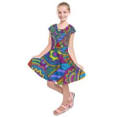 Pop Art Paisley Flowers Ornaments Multicolored Kids  Short Sleeve Dress by EDDArt