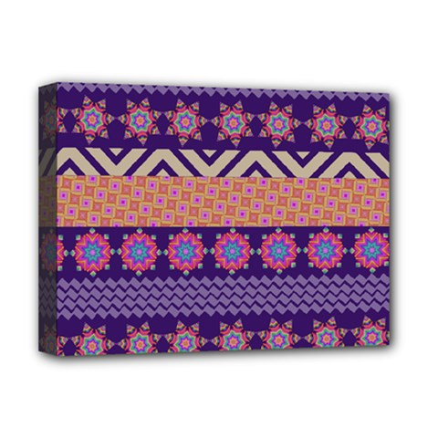 Colorful Winter Pattern Deluxe Canvas 16  X 12   by DanaeStudio