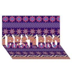 Colorful Winter Pattern Best Bro 3d Greeting Card (8x4) by DanaeStudio