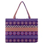 Colorful Winter Pattern Medium Zipper Tote Bag