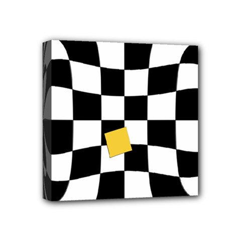 Dropout Yellow Black And White Distorted Check Mini Canvas 4  X 4  by designworld65